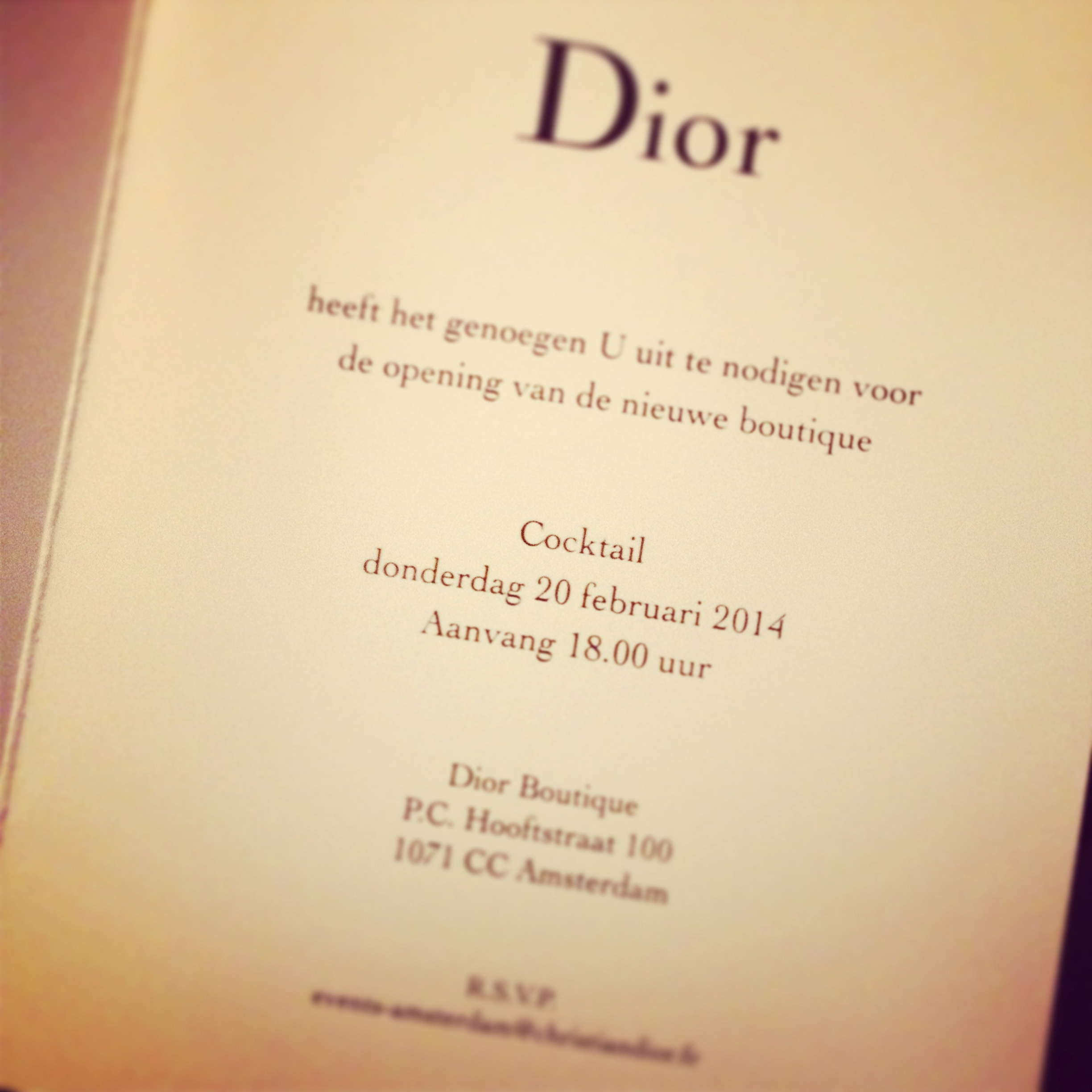 Opening dior boutique amsterdam stylebyfabie fabienne last february i received a letter from dior with the salutation madame lindenbergh pour moi i was surprised when i saw the beautiful invitation stopboris Image collections